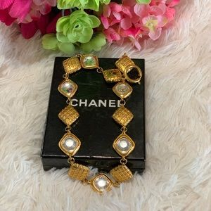Authentic Chanel Gold Quilted Crystal Choker